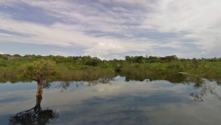 Street View-opname van de Rio Negro even ten noordwesten van de Braziliaanse stad Manaus. Beeld Google