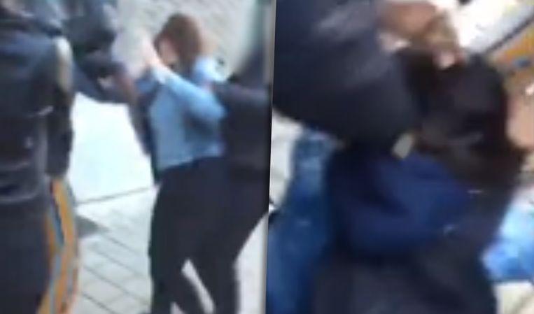 Screenshots uit het filmpje tonen de vechtende meisjes.