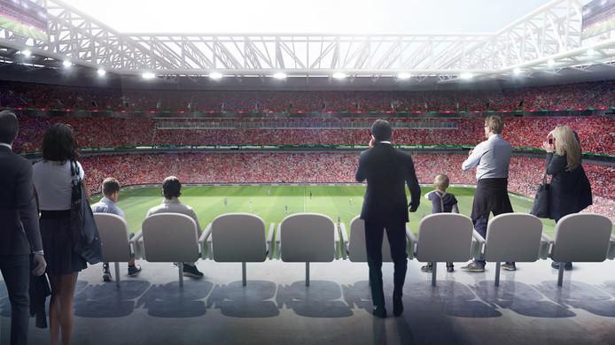 Er gaan in totaal 63.000 bezoekers in de toekomstige voetbaltempel.