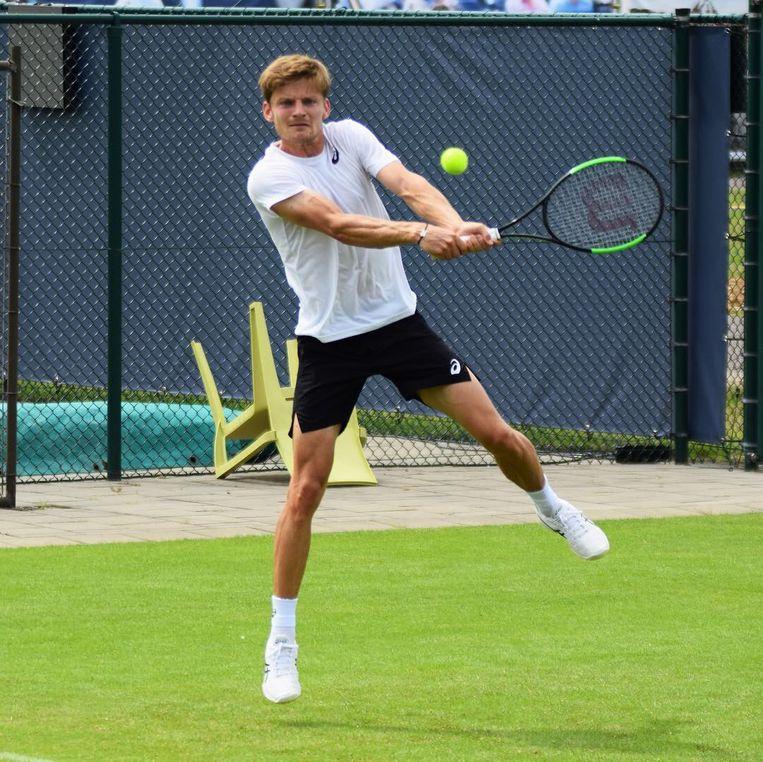 Goffin werkt op training in Rosmalen aan zijn grasgevoel. Vandaag is het meteen menens tegen Alejandro Davidovich Fokina, een Spaans talent.