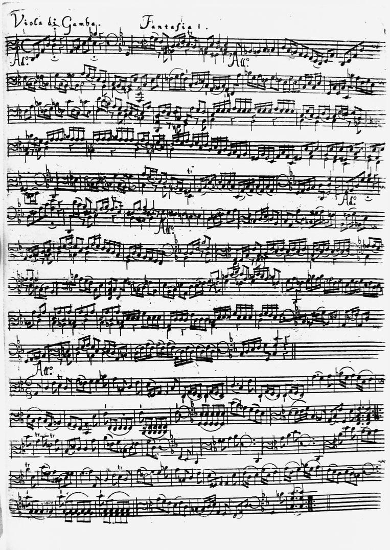 Pagina uit de teruggevonden uitgave van Telemanns fantasieën Beeld