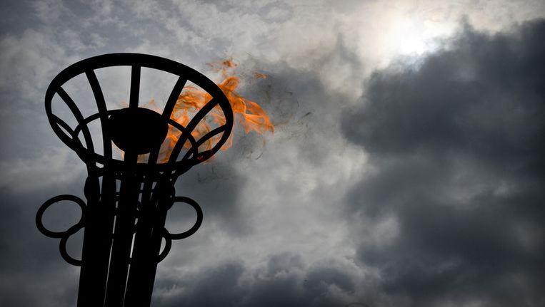 Een vlam in het Olympisch stadion Beeld ANP
