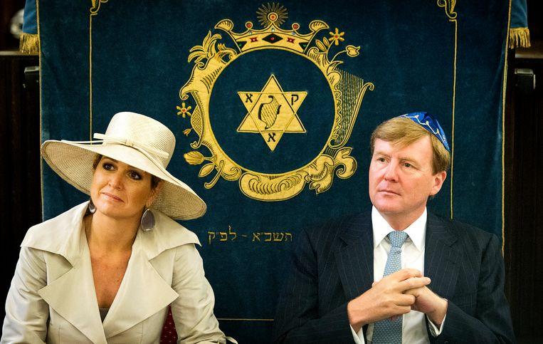 Koning Willem-Alexander en koningin Máxima in 2013 tijdens een bezoek aan de synagoge aan het Jacob Obrechtplein in het kader van 375-jarig bestaan van de Joodse Gemeente Amsterdam.  Beeld ANP