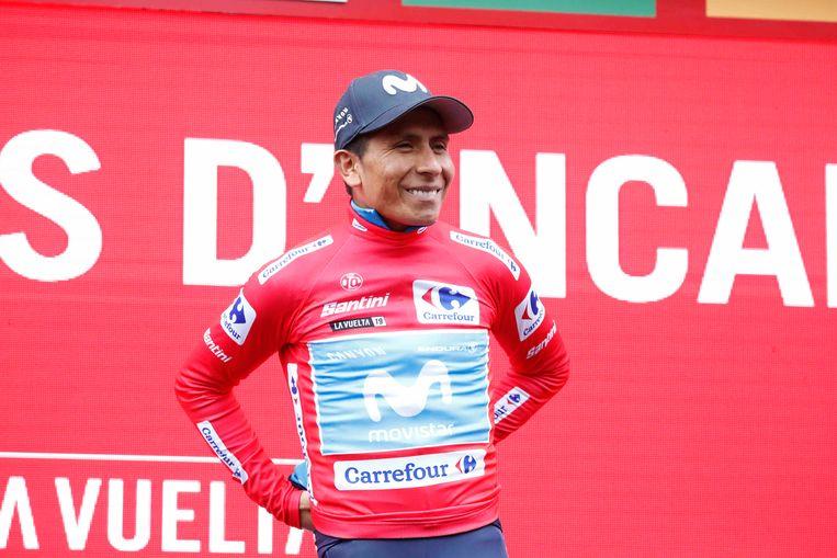 Nairo Quintana met de rode leiderstrui. Beeld BSR Agency