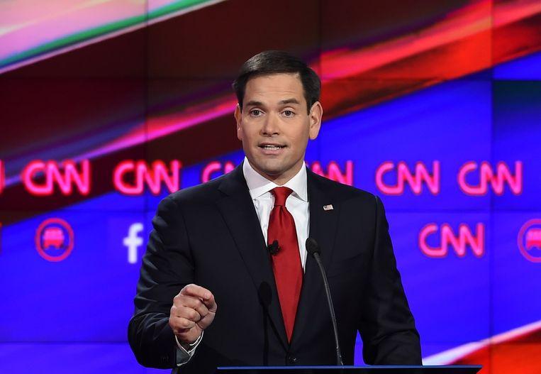 Senator Marco Rubio van Florida. Hij is in een gevecht verwikkeld met Ted Cruz om de tweede plaats in de peilingen. Beeld AFP