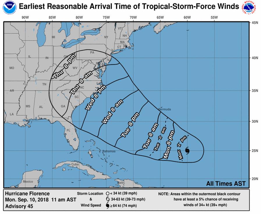 Dit is de route die orkaan Florence vermoedelijk gaat afleggen de komende dagen.