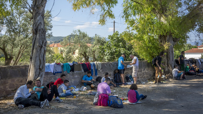 Syrische vluchtelingen net na hun aankomst in Griekenland