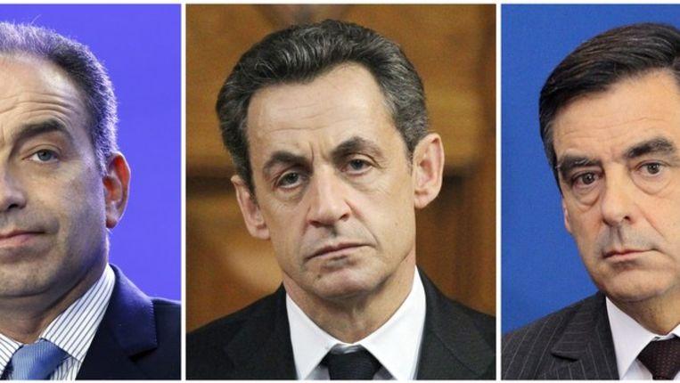 Jean-Francois Cope (L), Sarkozy en Francois Fillon Beeld afp