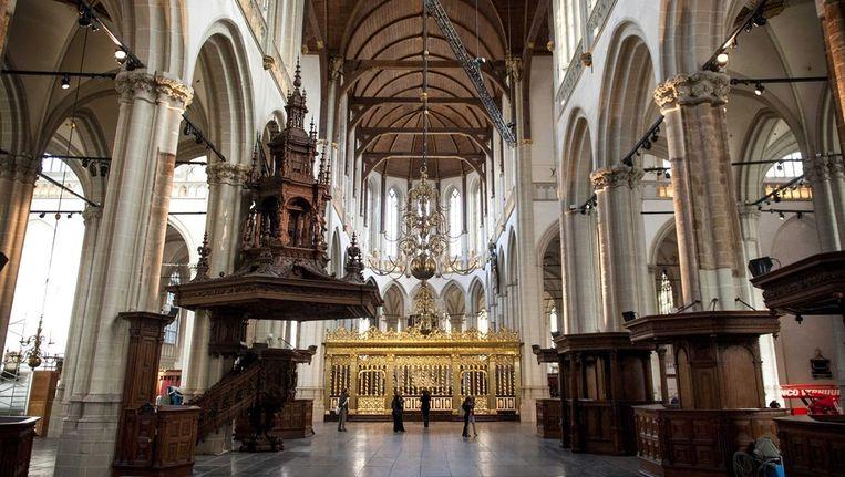 Interieur van de Nieuwe Kerk, waar de huldiging zal plaatsvinden Beeld epa