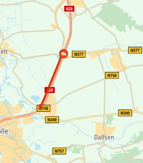 Ongeluk tussen Meppel en Zwolle zorgt voor file op A28