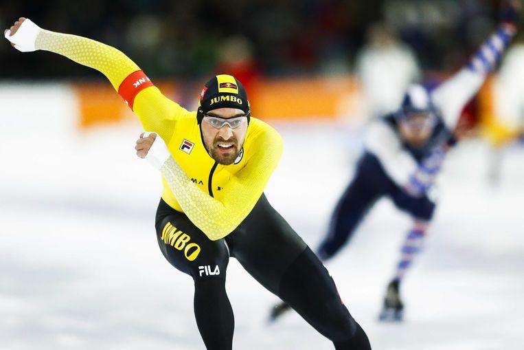 Kjeld Nuis, hier tijdens het NK sprint in januari.  Beeld ANP