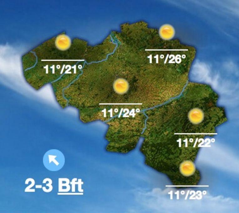 Het KMI voorspelt voor donderdag temperaturen tot 26 graden.