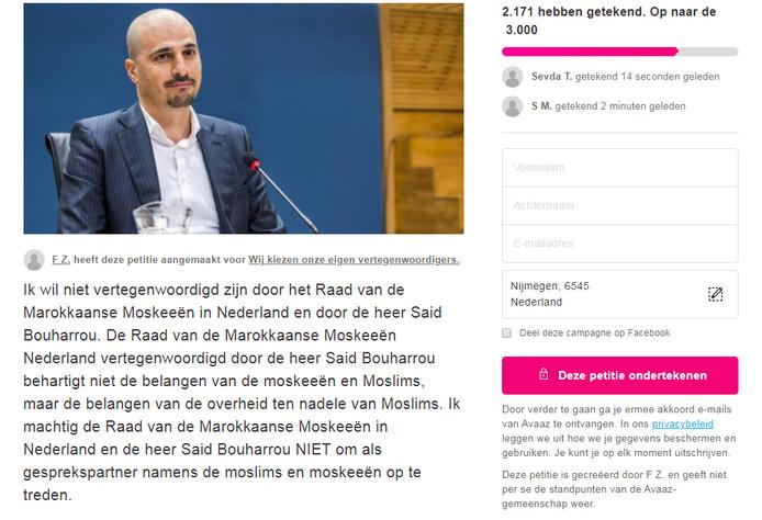 Screenshot van de online petitie.