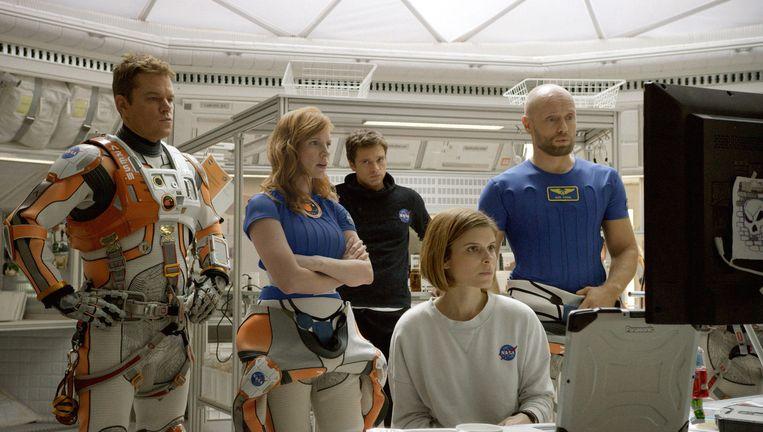 Matt Damon, Jessica Chastain, Sebastian Stan, Kate Mara en Aksel Hennie in The Martian. Beeld ap