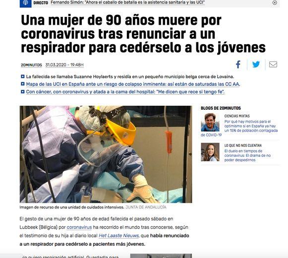Spaanse nieuwssite over Suzanne Hoylaerts
