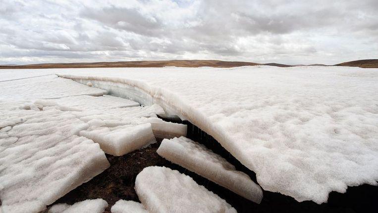 Smeltend ijs op het Tibetaans Hoogland in China. In de toekomst kan de uitstoot van HFK's zorgen voor een aanzienlijk deel van de opwarming van de aarde. Beeld afp