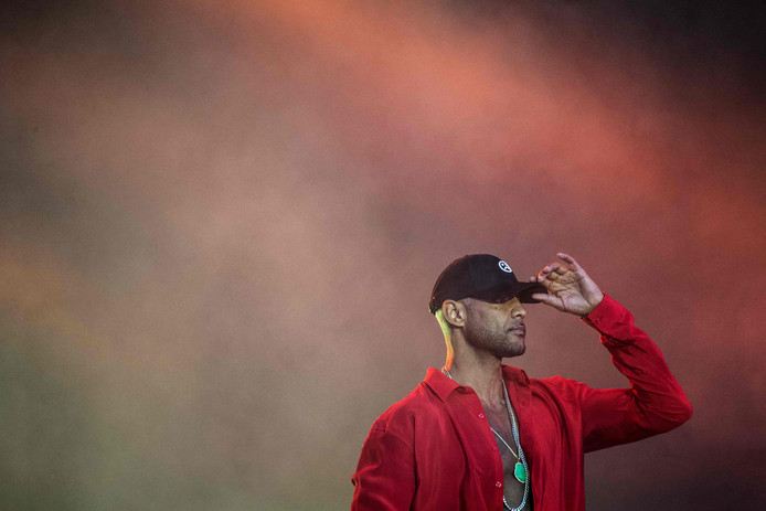 French rap singer Booba performs during the Vieilles Charrues music festival on July 18, 2019 in Carhaix-Plouger, western France. (Photo by LOIC VENANCE / AFP)