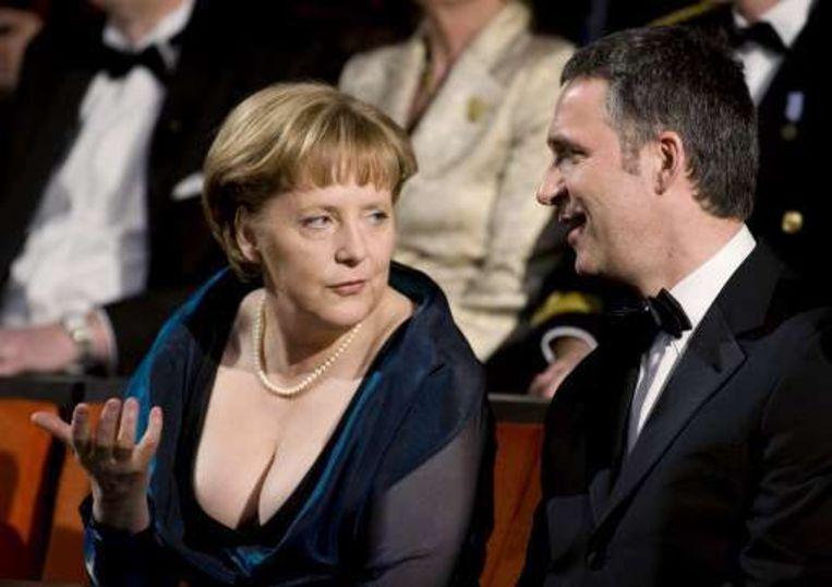 Merkel naast de Noorse premier Jens Stoltenberg.