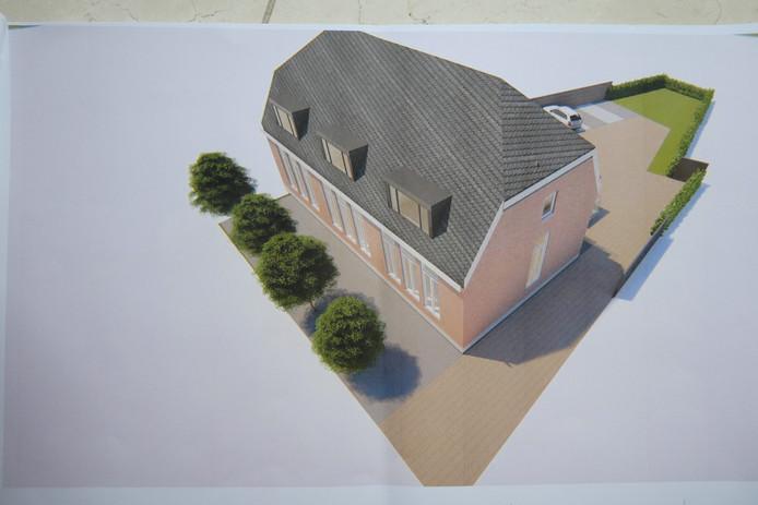 Amper is het bouwplan De Kei gepresenteerd, of er komt weer een bouwplan op tafel. Nu voor de Rietstok. Op de afbeelding de verbouwing van De Kei tot zes appartementen.