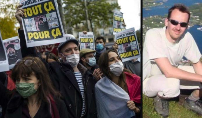 Links: de woede omtrent de gruwelijke moord. Rechts: slachtoffer Samuel Paty.