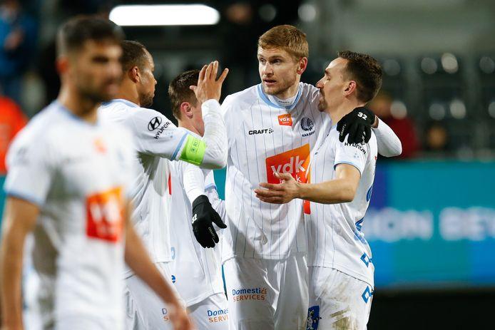 Les joueurs de Gand célèbrent leur victoire contre Eupen.