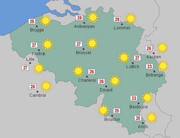 De voorspellingen voor donderdag: het kan volgens sommige weermodellen tot 28 graden worden.