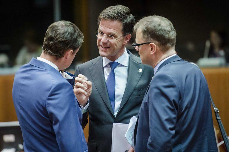 Premier Rutte voor aanvang van de top met eurolanden over de Griekse crisis. Beeld anp
