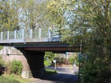 Oranje vrachtwagen ramt spoorbrug in Holten en laat boomstam achter