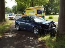 Auto rijdt rechtdoor in bocht en botst frontaal tegen boom: één gewonde