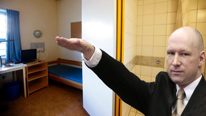 Massamoordenaar Anders Breivik, met op de achtergrond een van zijn drie cellen