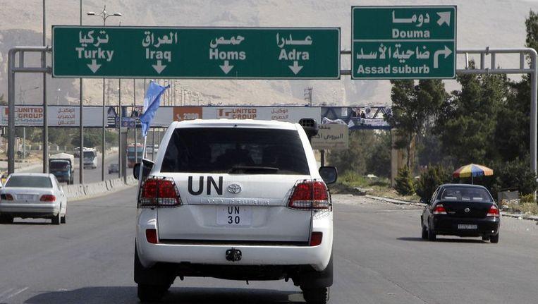 Een VN-wagen in Syrië Beeld reuters