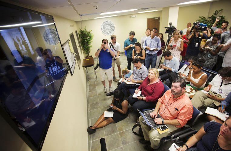 De rechtszaal waar Dylann Roof zich gisteren beschuldigd hoorde van negenvoudige moord.