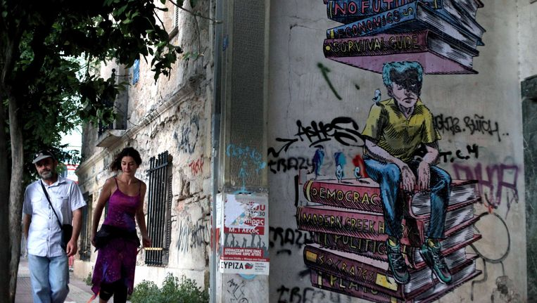 Een protestgraffiti in Athene. Beeld AP