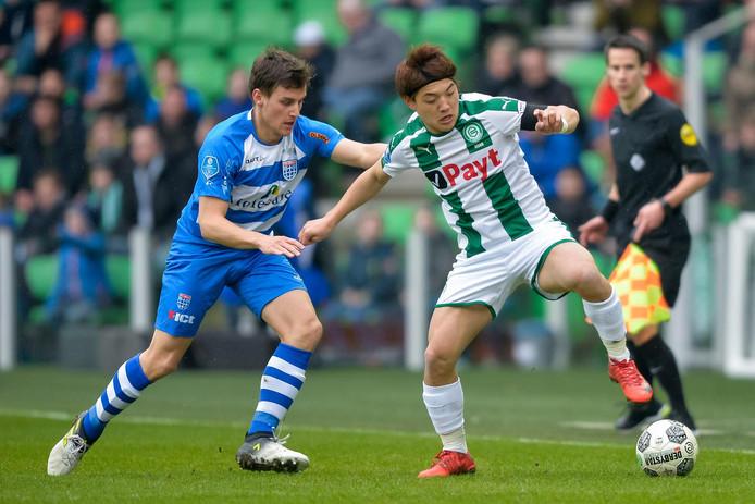 Erik Bakker (links) verlaat PEC Zwolle voor De Graafschap.