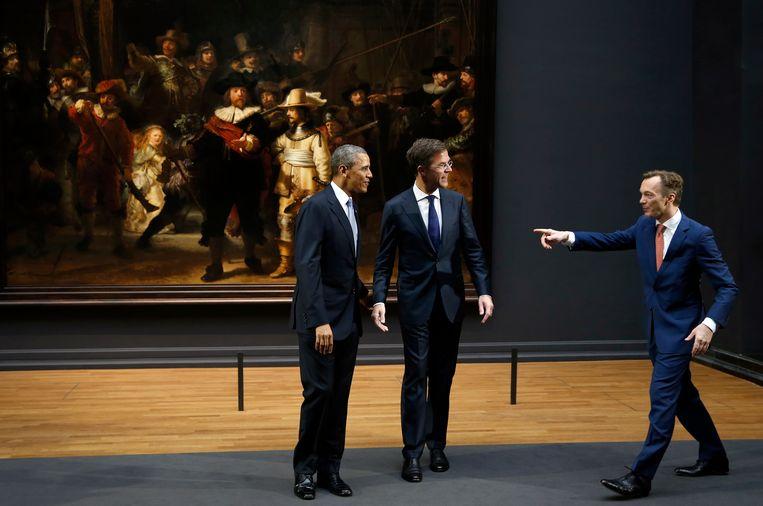 Wim Pijbes (R), hier met Mark Rutte en Barack Obama. Beeld ap