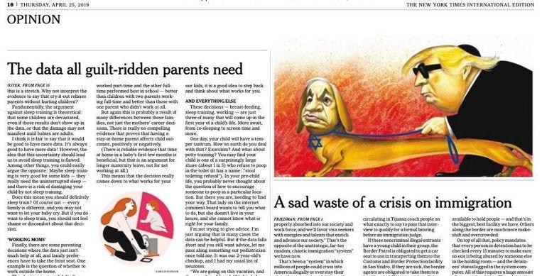 De omstreden cartoon van António Moreira Antunes in The New York Times. Beeld