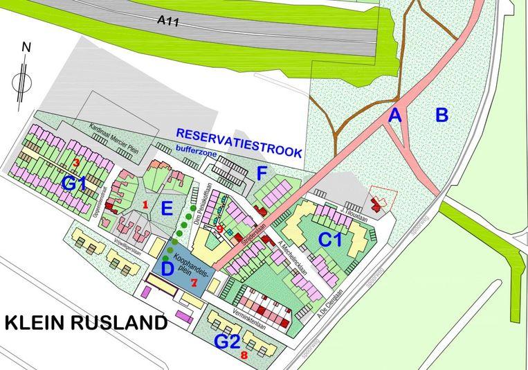 In het nieuwe plan voor Klein Rusland wordt maximaal rekening gehouden met de veelbesproken reservatiestrook.