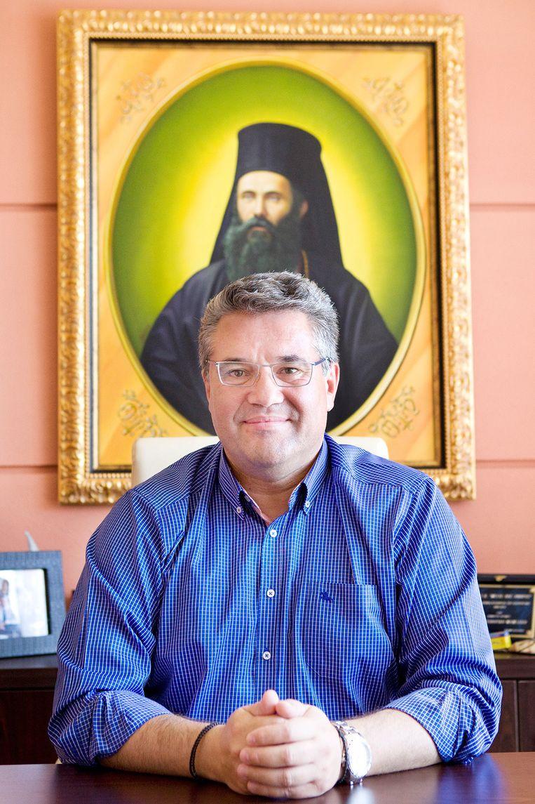 Mamsakos Xristodoulos, burgemeester van het Griekse stadje Drama. Beeld Io Cooman