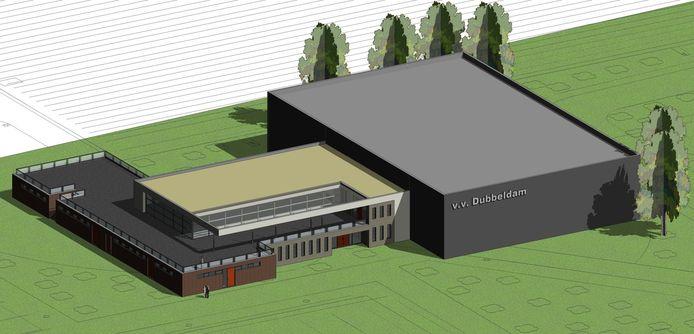 Een impressie van een nieuwbouwcomplex voor v.v. Dubbeldam, uit 2015.