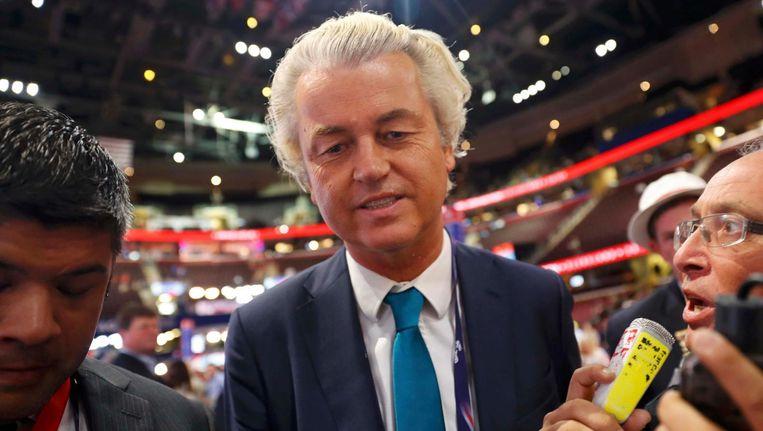 Geert Wilders op de partijconventie in Cleveland. Beeld reuters