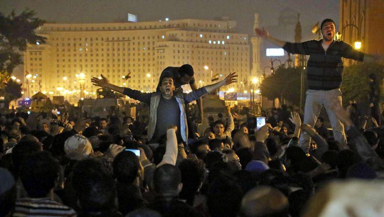 Een demonstratie in de buurt van het Tahrirplein in Cairo, 2014 Beeld epa