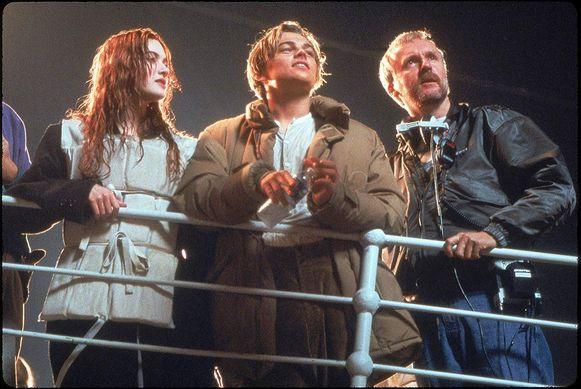 Met Kate Winslet en Leonardo DiCaprio op de set van 'Titanic' in de jaren 90.