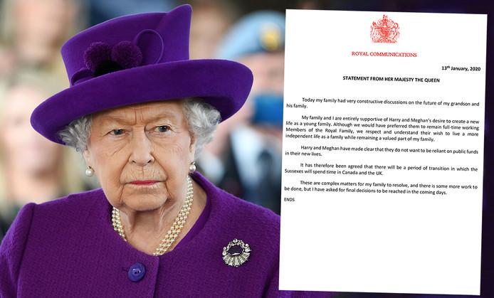 Le communiqué de la reine Elizabeth II