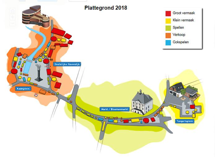 kaart met alle attracties van najaarskermis 2018