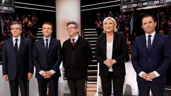 De kandidaten voor de Franse verkiezingen, vlnr: Francois Fillon (Les Republicains), Emmanuel Macron (En Marche!) Jean-Luc Melenchon (La France insoumise), Marine Le Pen (Front National) en Benoit Hamon (PS).