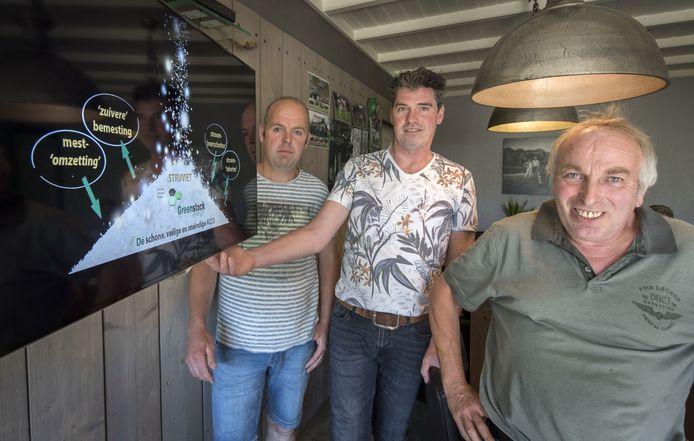 Marcel Ottink (rechts) , Martin Vossebeld (midden) en Remco Waanders  met een schematische voorstelling van hun 'struvietaccu'.