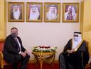 De Amerikaanse minister van Buitenlandse Zaken Mike Pompeo met zijn Bahreinse ambtsgenoot Abdullatif bin Rashid Al-Zayani, eind vorige maand.