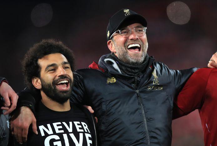 Mohamed Salah en manager Jürgen Klopp.