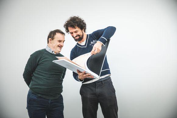 Danny Bergeman met zijn mentor Peter Van Hecke in het SMAK