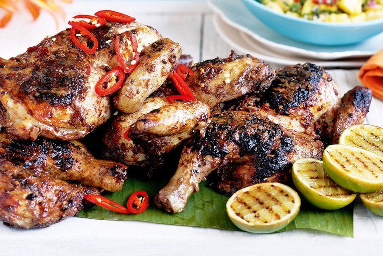 Jamaican Jerk, een van de gerechten op het Kip Festival Beeld Kip Festival